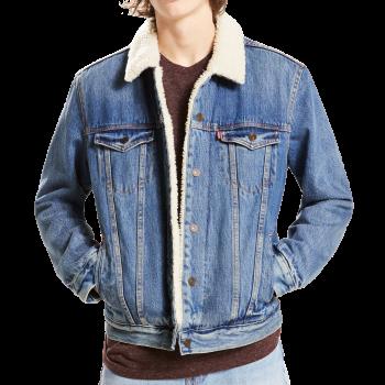 Levi's Jeansjacke mit Sherpa Futter, Frontansicht