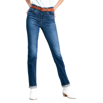 Levi's 724 High Rise Straight Jeans, bleu moyen, Carbon Dust, devant