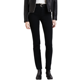 Levi's 724 High Rise Straight Jeans, tiefschwarz, Black Sheep, Frontansicht