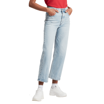 Levi's Ribcage Jeans Straight Ankle, bleu clair, Tango Light, devant