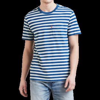 Levi's Pocket Stripe T-Shirt rundhals, blau / weiss gestreift, Frontansicht