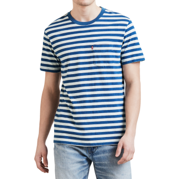 Levi's Pocket Stripe T-Shirt col rond, rayé bleu / blanc, devant
