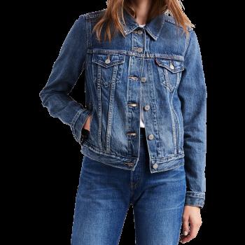 Veste en jeans Levi's Trucker, bleu moyen, Soft as Butter Dark, devant
