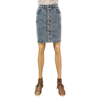 Levi's Button Thru Mom Skirt, Mid Race, bleu clair, devant