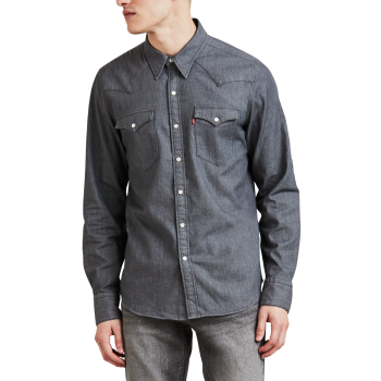Levi's Barstow Western Shirt Standard Fit, grau, Gray Stretch Rinse, Frontansicht