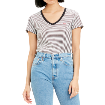 Levi's Perfect V-Neck, Annalise Stripe Cloud Dancer, Frontansicht
