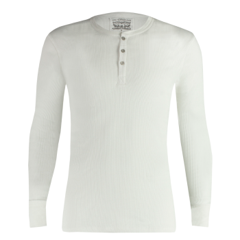 Levi's Long Sleeve Cotton Rib Henley Shirt Rundhals, weiss, Frontansicht