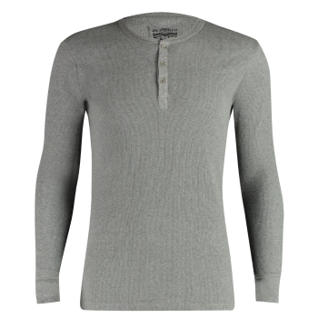 Levi's Long Sleeve Cotton Rib Henley Shirt Col Rond, gris, devant