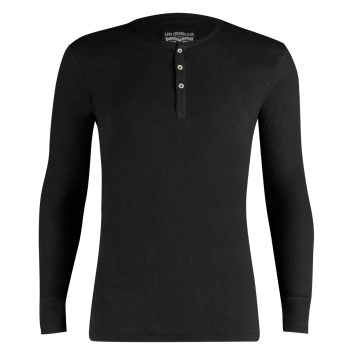 Levi's Long Sleeve Cotton Rib Henley Shirt Col Rond, noir, devant