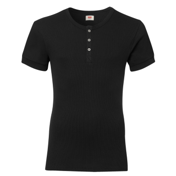 Levi's Short Sleeve Cotton Rib T-Shirt Col Rond, noir, devant