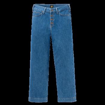 Lee Button Thru Wide Leg Jeans, Dark Drape, mittelblau, Frontansicht