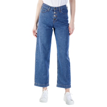 Lee Button Thru Wide Leg Jeans, Dark Drape, mittelblau, Frontansicht