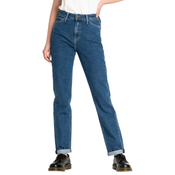 Lee Mom Jeans Straight, Bleu Moyen, Mystic Stone, Devant