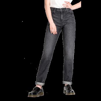 Lee Mom Jeans Straight, Schwarz Verwaschen, Black Lamont, Frontansicht