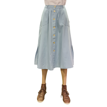Lee Chambray Skirt, hellbau, Summer Blue, Frontansicht