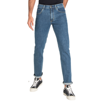 Lee Brooklyn Straight Stretch, Bleu, Mid Stonewash, Devant
