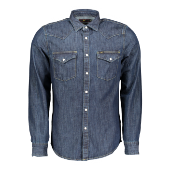 Lee Western Hemd Slim Fit, dunkelblau, Blueprint, Frontansicht