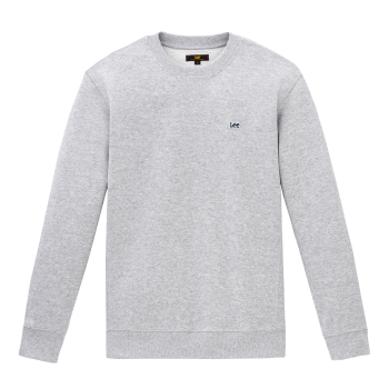 Lee Plain Crew Sweatshirt, gris clair, Grey Mele, devant