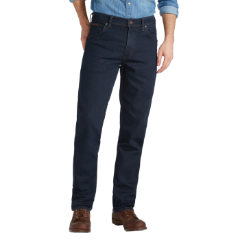 Wrangler Texas Stretch Jeans Straight, dunkelblau, Blue Black, Frontansicht