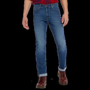 Wrangler Arizona Jeans straight, bleu moyen, Burnt Up, devant