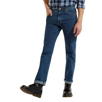 Wrangler Arizona Jeans straight, bleu moyen, Rolling Rock, devant