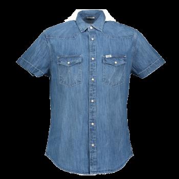 Wrangler Western Shirt Regular Fit, Mid Used, bleu moyen, devant