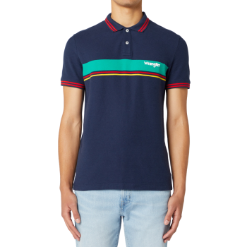 Wrangler Colourblock Polo, Navy, devant