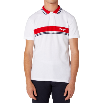 Wrangler Colourblock Polo White, devant