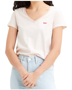 Levi's Perfect V-Neck, Annalise Stripe Sepia Rose, Frontansicht