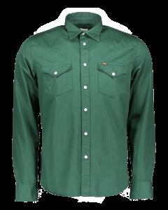 Lee Western Hemd Slim Fit, dunkelgrün, Bottle Green, Frontansicht