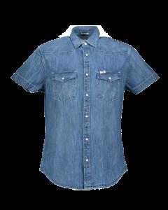 Wrangler Western Hemd Regular Fit, Mid Used, mittelblau, Frontansicht